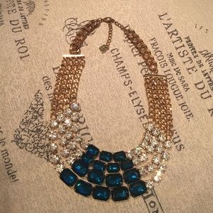 sparkles & pop Jewelry - sapphire blue and crystal statement bib necklace
