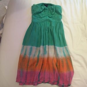Dresses & Skirts - Teal tie dye strapless open back dress