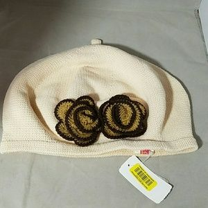 Cara Accessories - CARA  NWT Ivory Slouch Hat Cap with Flowers