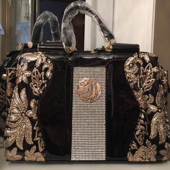 1902f1094ce8 Julia & Michael Bags | New Black Bag W Gold Sequin Stones | Poshmark