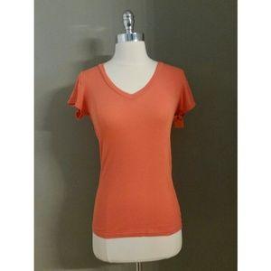Michael Stars Tops - Michael Stars Orange V Neck Ribbed Tee Shirt