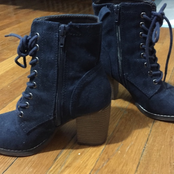 Candie's - Candies navy blue lace up heeled combat boots from ...