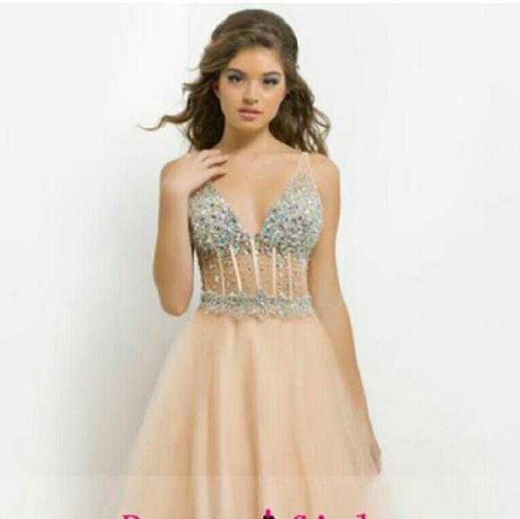 3daf77e5f7baa8 2014 Deep V Neck Bedazzled Prom Dress