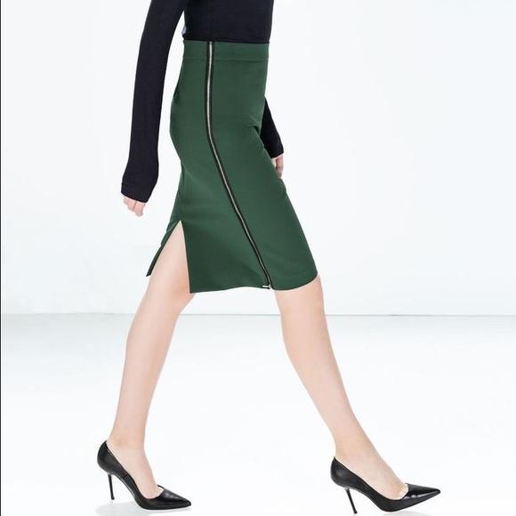 e6e12f2a43 Zara Skirts | Dark Green Side Zipper Pencil Skirt | Poshmark