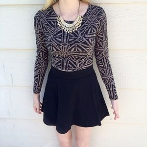 F21 Long Sleeved Crop Top Black and Gold / Tan
