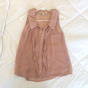Forever 21 Blush Pink Sleeveless Button Up Blouse