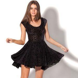 Velvet black evil skater dress