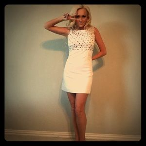 Oasis white 60s Shift dress with diamanté