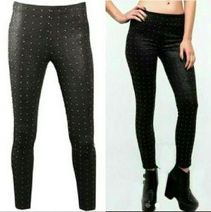 New capulet black studded leggings faux suede stud