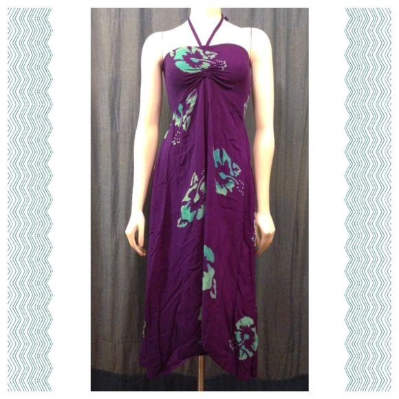 0c15e17b96b Purple Hawaiian Halter / Tube Dress, Size Medium.