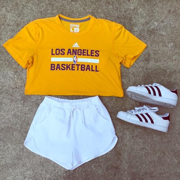 Adidas Tops - Women s adidas yellow lakers basketball crop top 7a095fa635