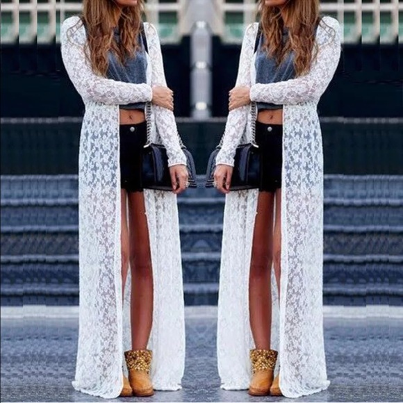75% off a'gaci Sweaters - FLASH SALE⚡️white lace cardigan floor ...