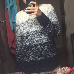 Oversized navy blue and white sweater