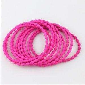 Adia Kibur Neon Pink Thin Wire Bracelet Set of Ten