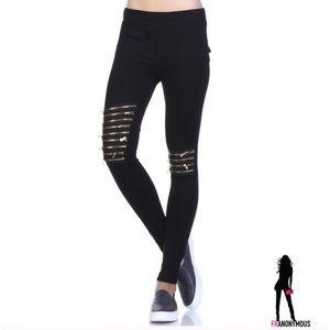 April Spirit Pants - April Spirit Black Zipper Detail Leggings S, M,