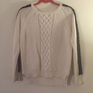 Zara white and black cable knit sweater