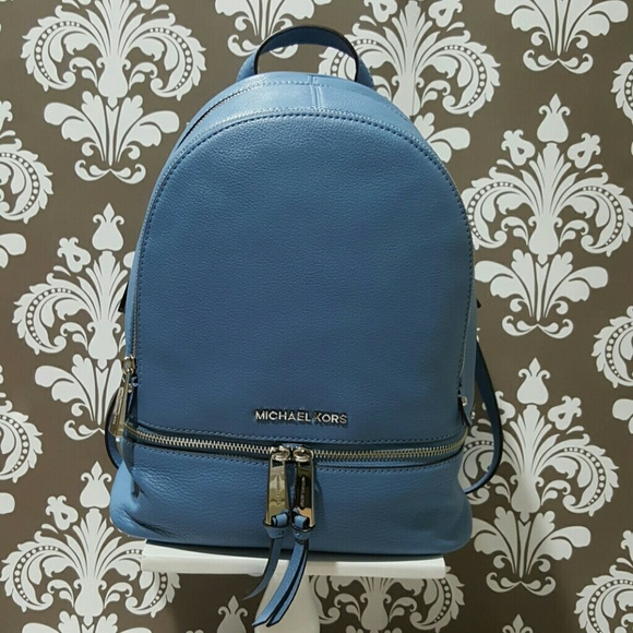 23d6def545d3 Michael Kors small Rhea backpack in sky silver.