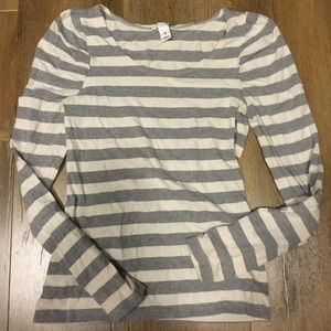 Stripe long sleeve puff sleeve t shirt