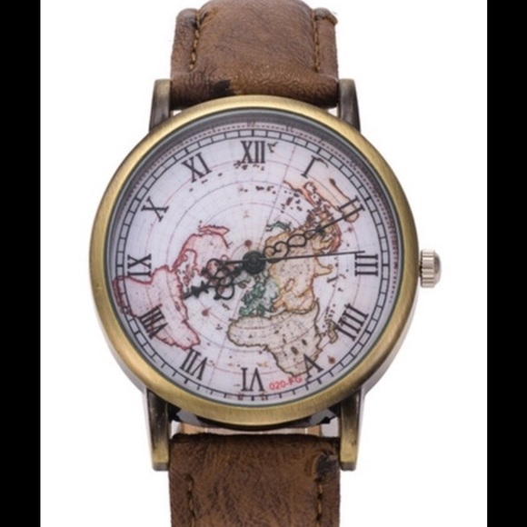 💥⌚️MENS VEGAN LEATHER OSTRICH BANDED MAP WATCH⌚️