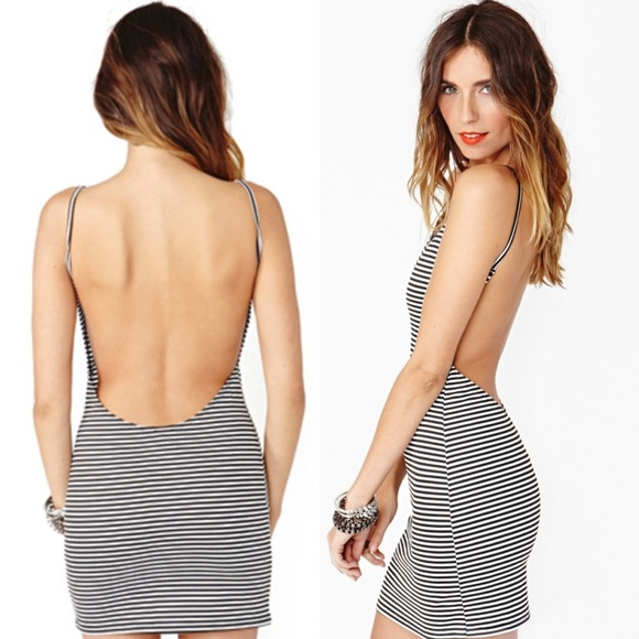 6a529a66ce758c Dresses | Striped Sexy Backless Low Cut Out Back Mini Dress | Poshmark