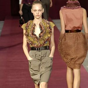 YSL Ruffle Button Up Shirt Blouse - Runway 2006