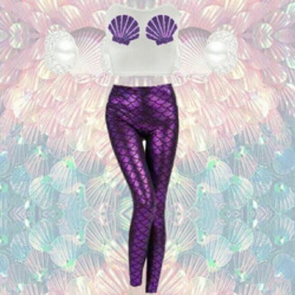0b3cd45bfbe NWOT PLUS SIZE mermaid leggings purple 1x 2x