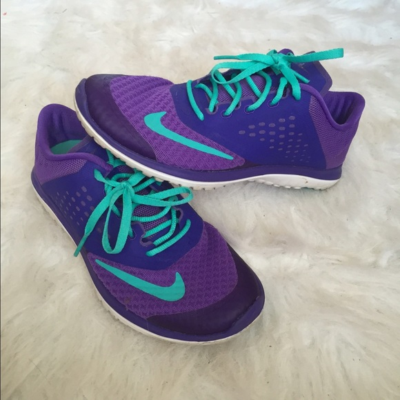 purple and teal nikes