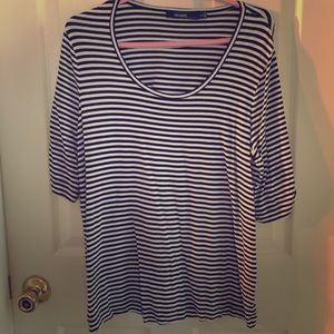 Eloquii Tops - white and black striped top