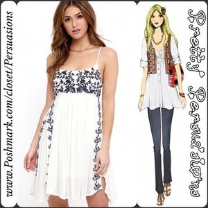 NWT White Floral Embroidered Slip Dress