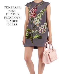 Ted Baker Silk Printed Dress: Gray Foxglove