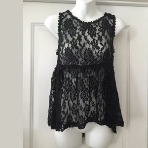 Nwt forever 21 black lace peplum top Sz s small
