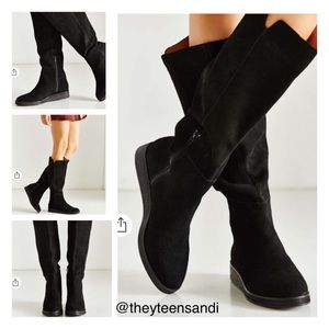 Urban Outfitters Black Suede High Wedge Dolly Boot