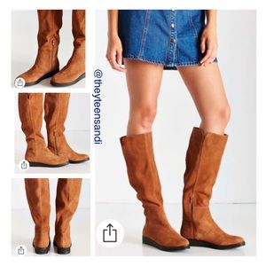Urban Outfitters Tan Suede Dolly High Wedge Boots
