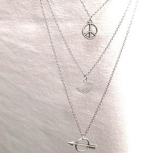 Jewelry - Multistrand bird sparrow boho arrow peace necklace