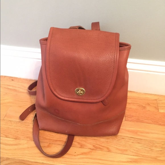 78% off Coach Handbags - COACH Tan Leather backpack from Jessica's ...