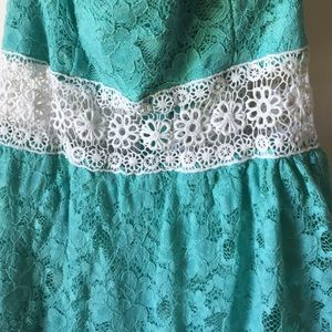 Finesse Dresses - Turquoise lace dress