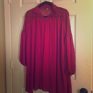 Short red wine dress