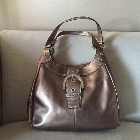 e263f7711f49c Coach Handbags - Coach bronze metallic leather hobo purse