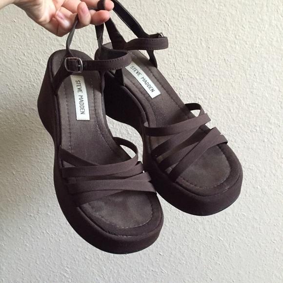 Vintage 90s Strappy Material Platform Sandals