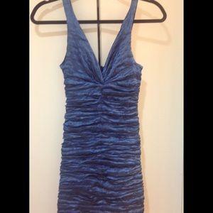Nicole Miller Navy Blue Shiny Dress
