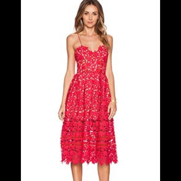 4853e81bc7c1 Self-Portrait Dresses | Self Portrait Red Lace Dress | Poshmark