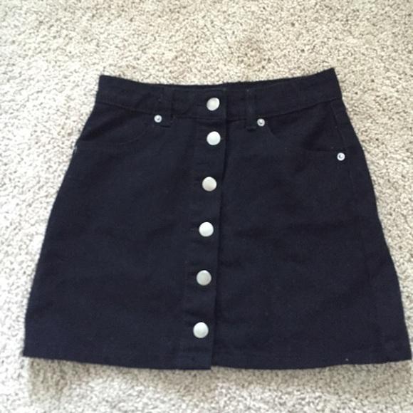 Forever 21 - Black denim button down skirt from Breanna's closet ...
