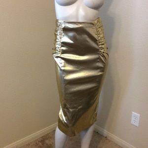 Alessandro Dell'Acqua Dresses & Skirts - Alessandro Dell'Acqua Gold Ruched Pencil Skirt
