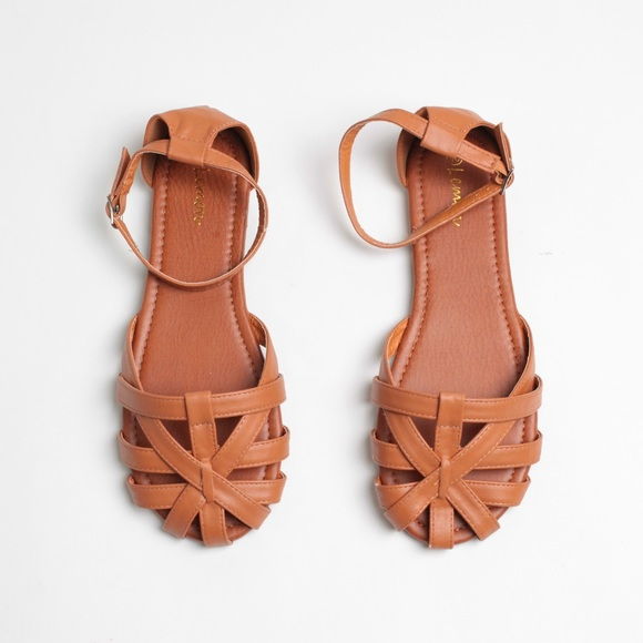 f16ea4b8b81 Cognac Faux Leather Woven Huaraches Sandals Flats