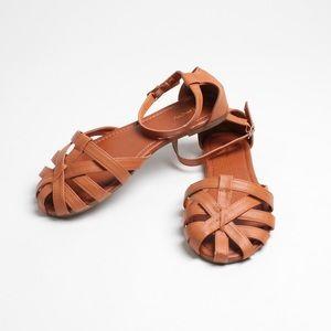 9ad506c21ae5 Shoes - Cognac Faux Leather Woven Huaraches Sandals Flats