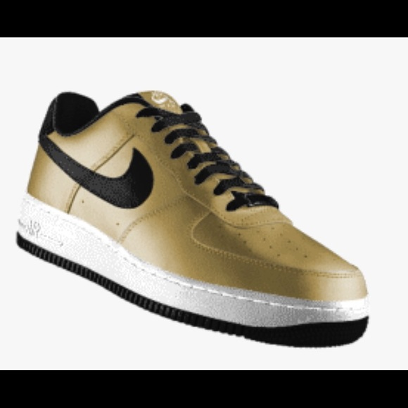 new styles 6b2a8 d701e Men s Size 9 Custom Gold Black Nike Air Force 1