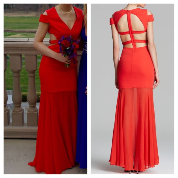 BCBGMaxAzria Dresses | Exclusive Bcbg Prom Gown Ava Cutout In Red ...