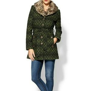 Piperlime Jackets & Blazers - Sabine Green Tallulah Fur Trimmed Coat