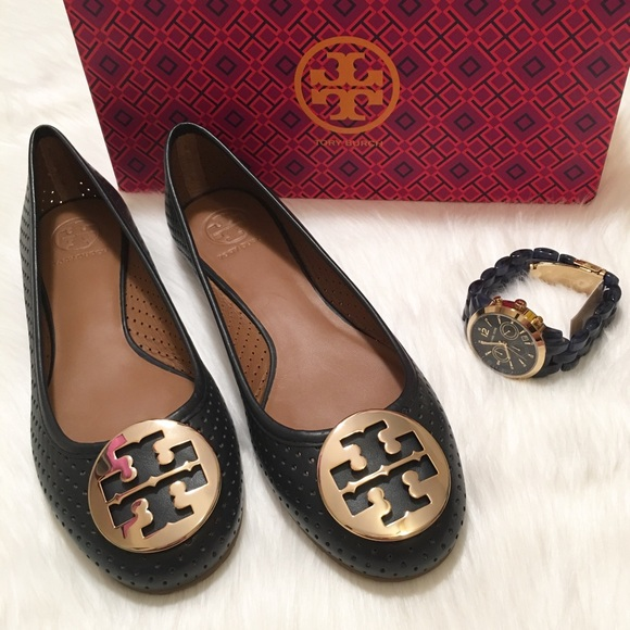 NEW Tory Burch Reva Perforated Ballerina Flats!