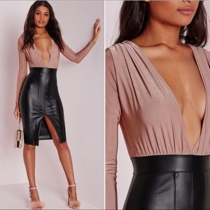 Missguided Faux Leather Midi Dress